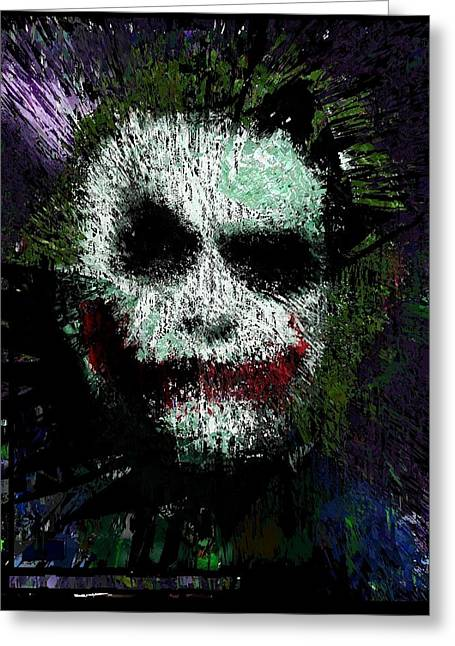 Christopher Nolan Greeting Cards - The Joker Greeting Card by Brett Sixtysix