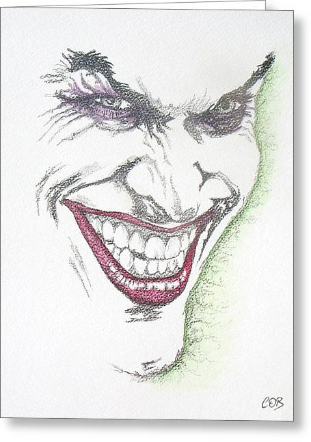 Cob Drawings Greeting Cards - The Joker Greeting Card by Conor OBrien