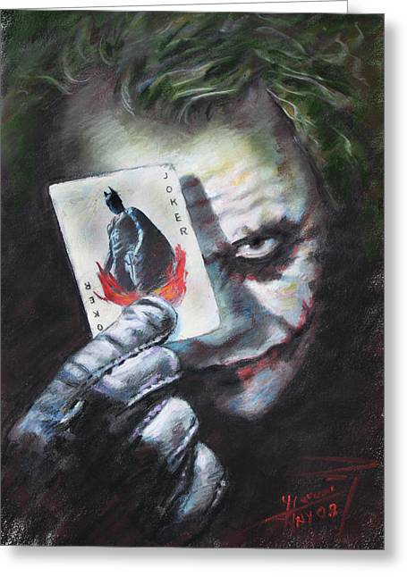 Heath Ledger Greeting Cards - The Joker Heath Ledger  Greeting Card by Viola El