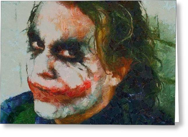 Gotham City Paintings Greeting Cards - The Joker Heath Ledger Greeting Card by Dan Sproul