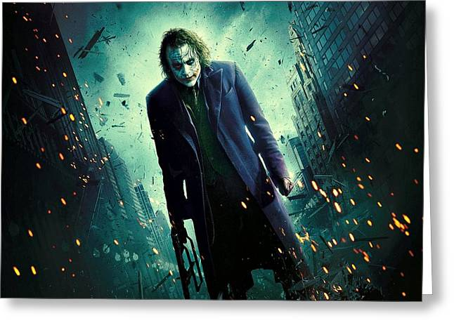 Ledger; Book Digital Art Greeting Cards - The Joker Heath Ledger Dark Knight Greeting Card by Movie Poster Prints