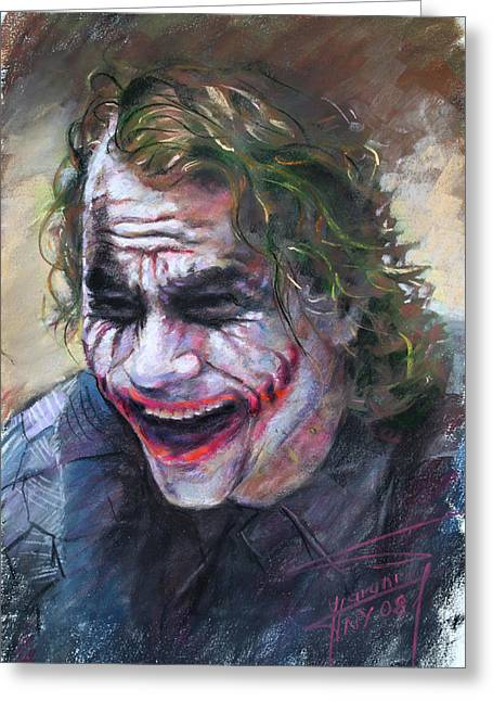Heath Ledger Greeting Cards - The Joker Heath Ledger  sm Greeting Card by Ylli Haruni