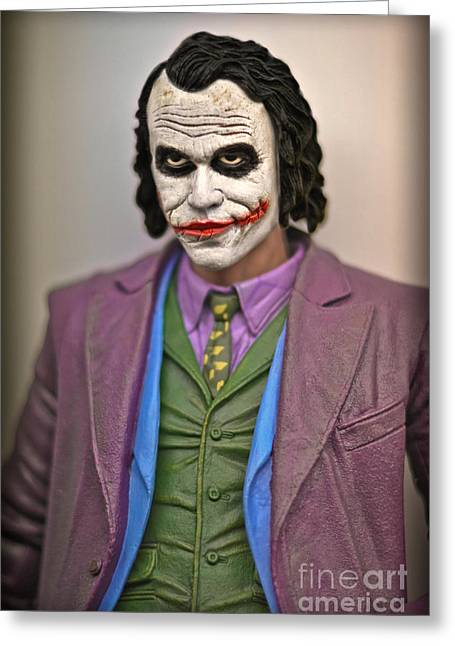 Crime Fighter Greeting Cards - The Joker In The Dark Knight Greeting Card by Gary Keesler
