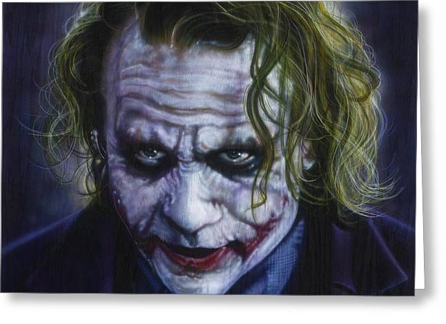 Celebrity Portrait Greeting Cards - The Joker Greeting Card by Tim  Scoggins