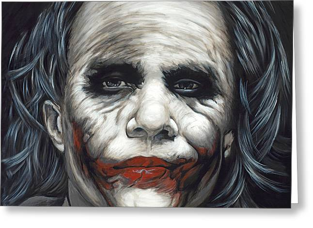 Ledger; Book Paintings Greeting Cards - The Joker Greeting Card by Travis Knight