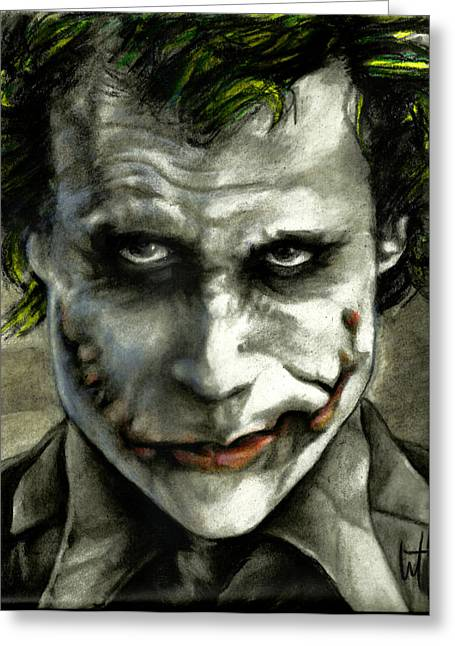 Christopher Nolan Greeting Cards - The Joker Greeting Card by William Western