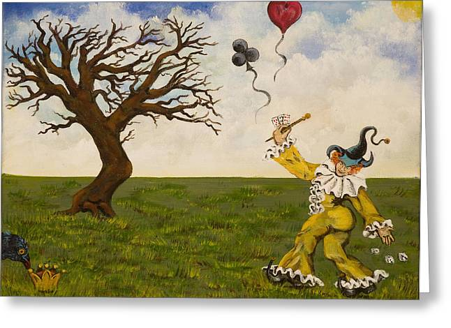 Print On Canvas Greeting Cards - The Jokers Wild Greeting Card by Susan Culver