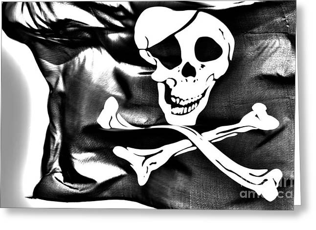 Cross Bones Greeting Cards - The Jolly Roger flag Greeting Card by Micah May