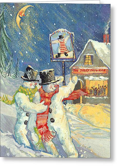 Snowman Christmas Card Greeting Cards - The Jolly Snowman Gouache Greeting Card by David Cooke