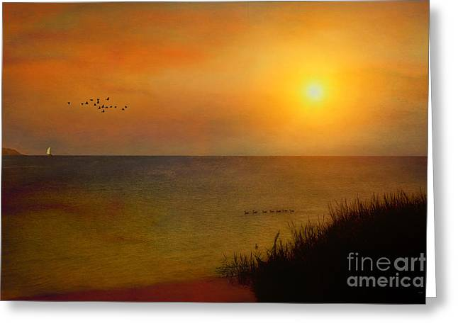 Sunset Seascape Greeting Cards - The Journey Back Home Greeting Card by Tom York Images