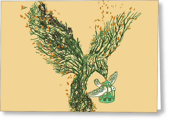 Fantasy Tree Greeting Cards - Bird Migration Greeting Card by Nava Seas