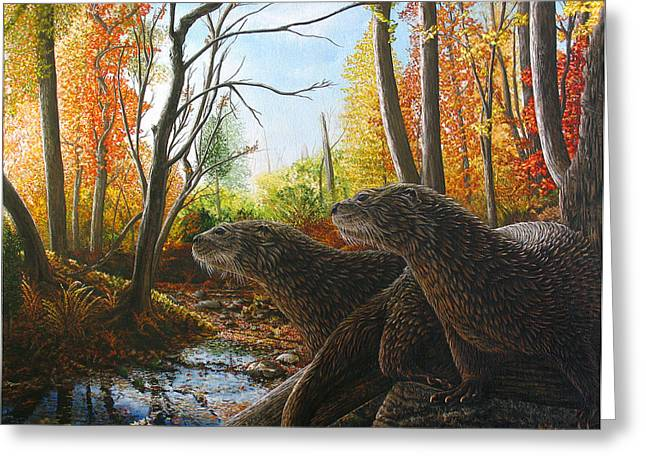 Otter Paintings Greeting Cards - The Journey Greeting Card by Cara Bevan