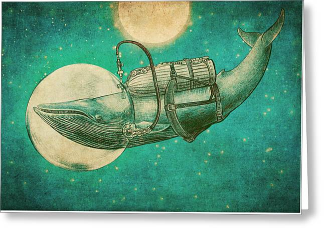 Whale Drawings Greeting Cards - The Journey Greeting Card by Eric Fan