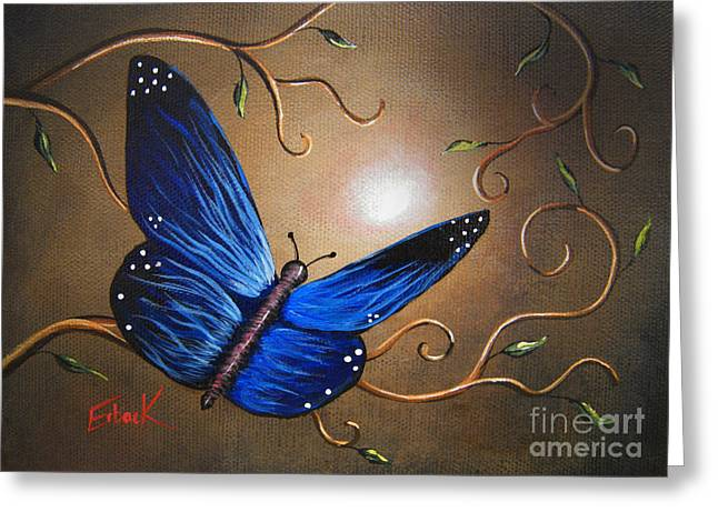 Fluttering Paintings Greeting Cards - The Journey Home by Shawna Erback Greeting Card by Shawna Erback