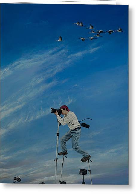 Canadian Photographer Paintings Greeting Cards - The Journey of the Photographer Greeting Card by Cindy D Chinn