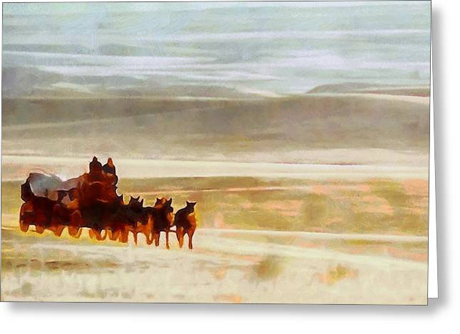 Horse And Wagon Greeting Cards - The Journey Out West Greeting Card by Dan Sproul