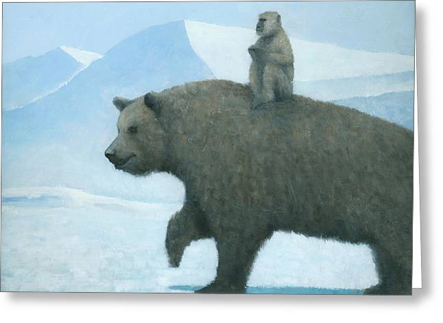 Arctic Paintings Greeting Cards - The Journey Greeting Card by Steve Mitchell