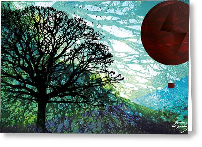 Hot Air Balloon Mixed Media Greeting Cards - The Journey Greeting Card by Tim Ford