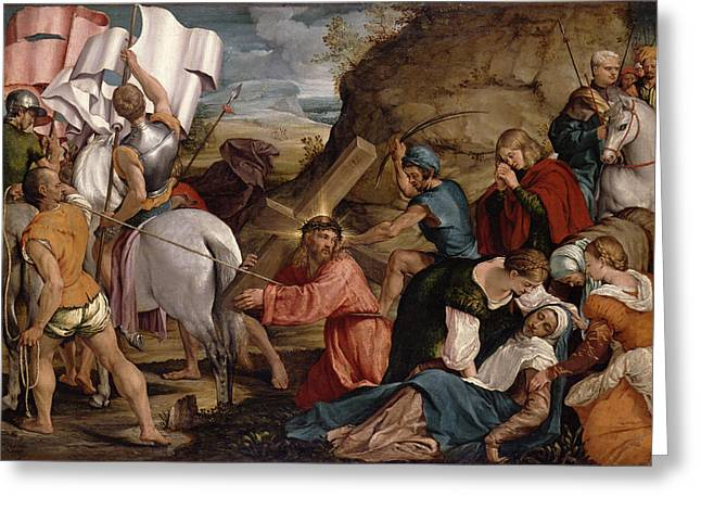 Jesus Greeting Cards - The Journey To Calvary, C.1540 Greeting Card by Jacopo Bassano