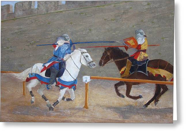 Knighting Pastels Greeting Cards - The Joust Greeting Card by Stacey David