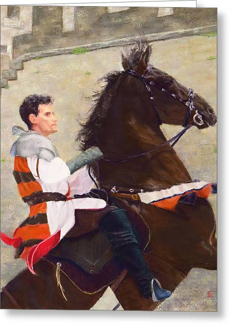 Renaissance Pastels Greeting Cards - The Jousting Prince Greeting Card by Stacey David