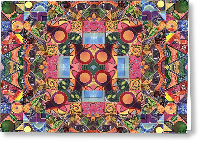 Human Spirit Greeting Cards - The Joy of Design Mandala Series Puzzle 2 Arrangement 1 Greeting Card by Helena Tiainen