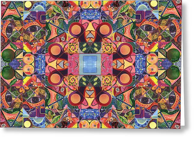 Physical Body Mixed Media Greeting Cards - The Joy of Design Mandala Series Puzzle 2 Arrangement 5 Greeting Card by Helena Tiainen