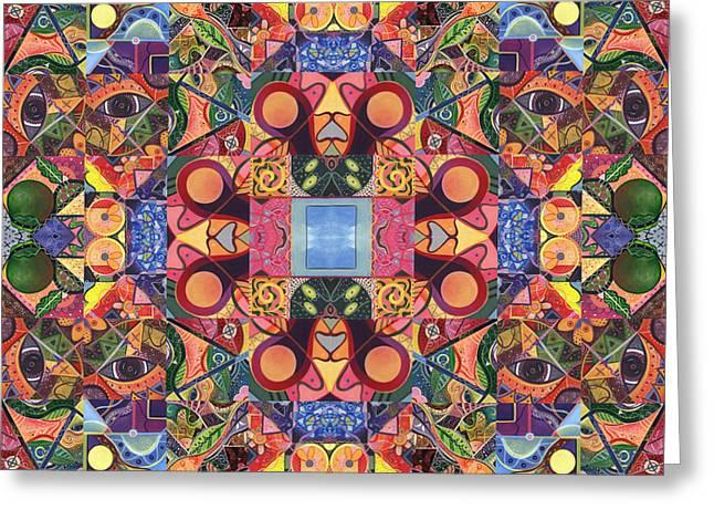 Cosmic Manifestation Greeting Cards - The Joy of Design Mandala Series Puzzle 2 Arrangement 5 Greeting Card by Helena Tiainen