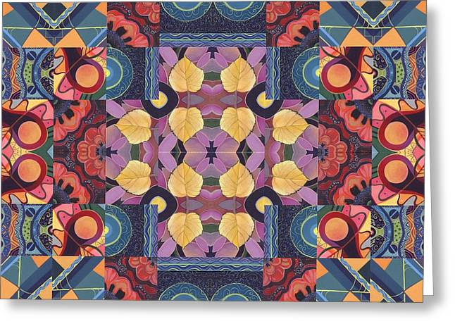 Geometric Abstraction Mixed Media Greeting Cards - The Joy of Design Mandala Series Puzzle 5 Arrangement 2 Greeting Card by Helena Tiainen