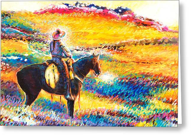 Impressionistic Equine Art Greeting Cards - The Joy Of The Cosmic Cowgirl Greeting Card by Charles Wallis
