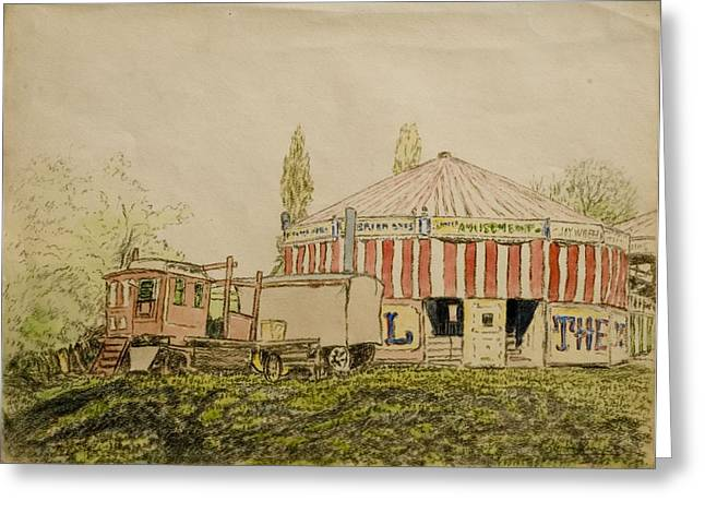 Amusements Greeting Cards - The Joy Wheel, Mitcham Greeting Card by John Doman Turner
