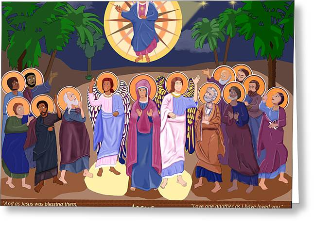 Jesus And Disciples Greeting Cards - The Joyful Ascension of Christ Greeting Card by Martin Brockhaus