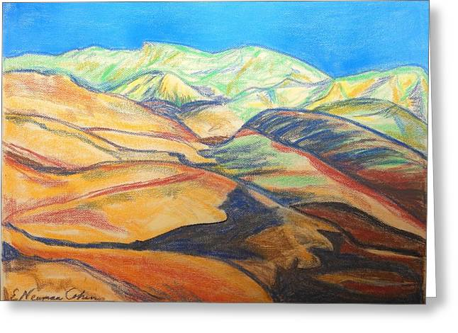 Pastel Mountains Metal Prints Greeting Cards - The Judean Desert Greeting Card by Esther Newman-Cohen