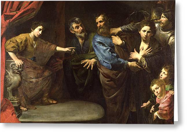 Susanna And The Elders Greeting Cards - The Judgement Of Daniel Or, The Innocence Of Susanna Oil On Canvas Greeting Card by Valentin de Boulogne