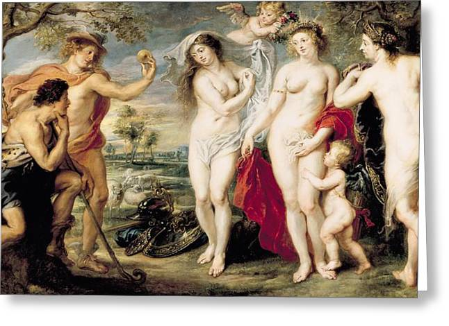 Juno Greeting Cards - The Judgement Of Paris, 1639 Oil On Canvas Greeting Card by Peter Paul Rubens