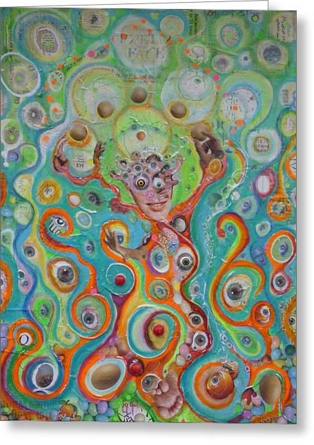 Quirky Mixed Media Greeting Cards - The Juggler of JunkaDelphia Greeting Card by Douglas Fromm