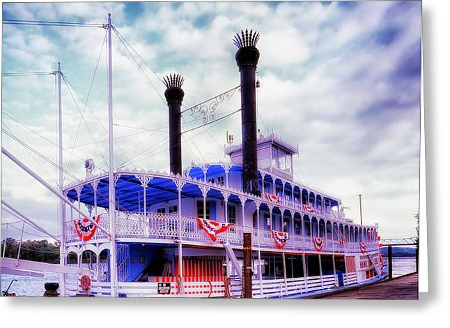 Steamboat Greeting Cards - The Julia Belle Swan Greeting Card by Mountain Dreams