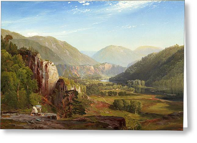 White River Scene Greeting Cards - The Juniata Evening Greeting Card by Thomas Moran
