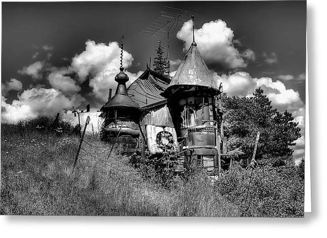Junk Greeting Cards - The Junk Castle in Black and White Greeting Card by David Patterson