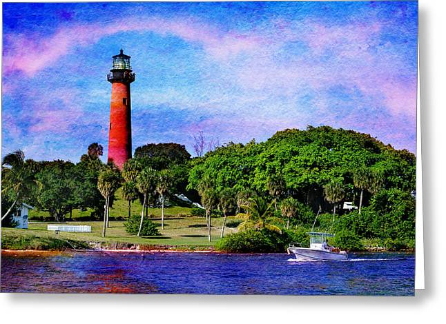 Florida House Mixed Media Greeting Cards - The Jupiter Inlet Lighthouse Greeting Card by Laura  Fasulo