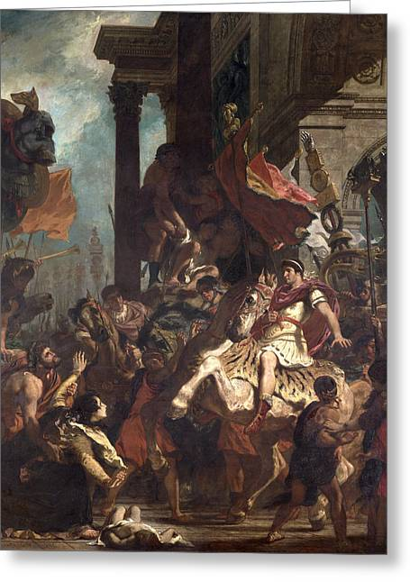 Roman Photographs Greeting Cards - The Justice Of Trajan 53-117 1840 Oil On Canvas Greeting Card by Ferdinand Victor Eugene Delacroix