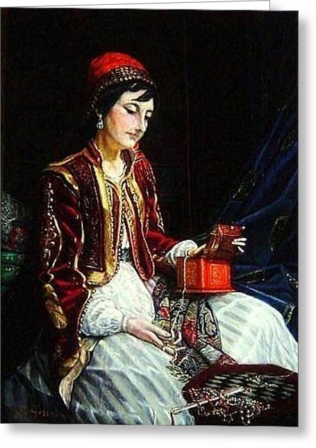 Portraits Jewelry Greeting Cards - The Juwelry box - Orientalism Greeting Card by Paul Gosselin