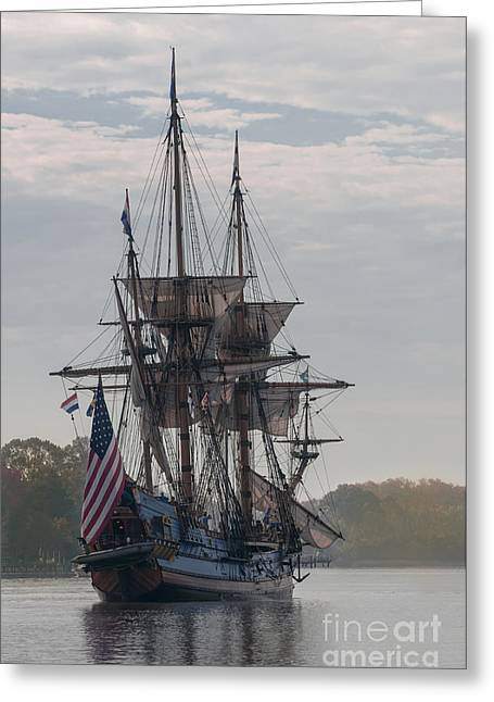 Historic Schooner Greeting Cards - The Kalmar Nyckel on the Chester River in Maryland Greeting Card by Lauren Brice