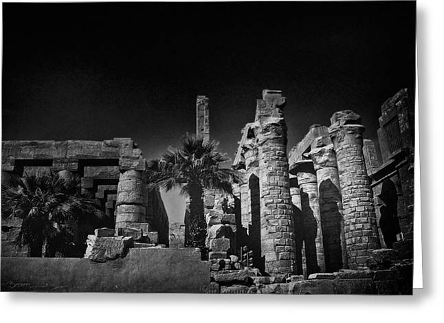 Hieroglyph Greeting Cards - The Karnak Temple BW Greeting Card by Erik Brede