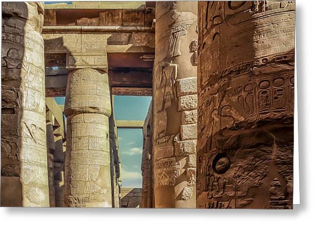 The Karnak Temple Greeting Card by Erik Brede