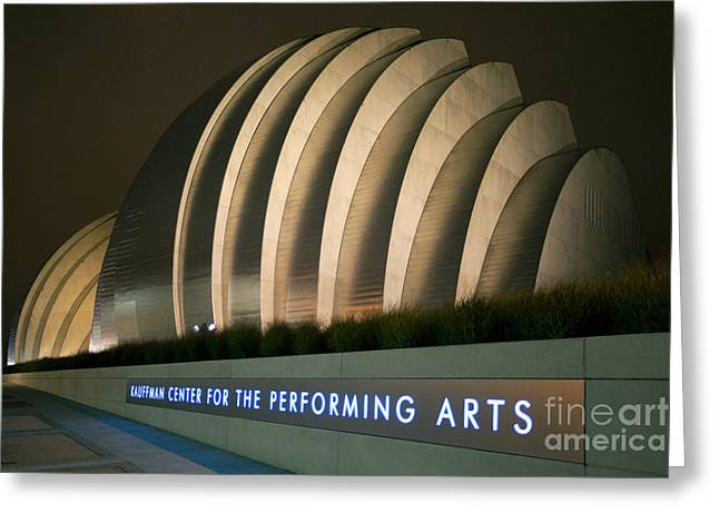Moshe Greeting Cards - The Kauffman Center for the Performing Arts at night Greeting Card by Bill Cobb