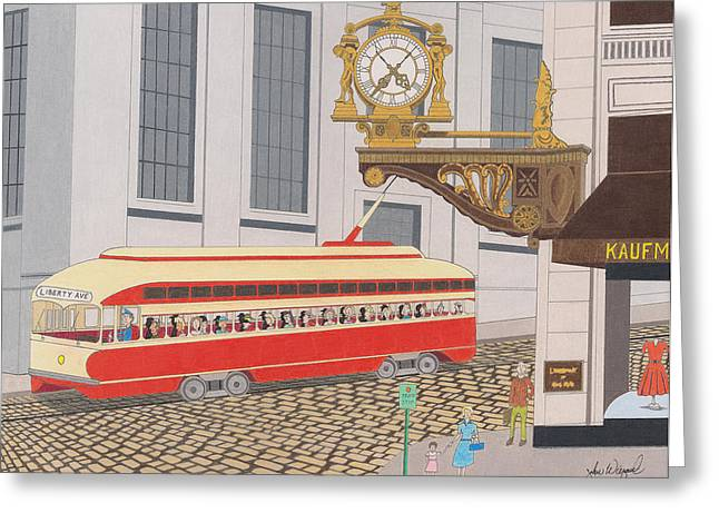 Downtown Drawings Greeting Cards - The Kaufmann Clock Greeting Card by John Wiegand