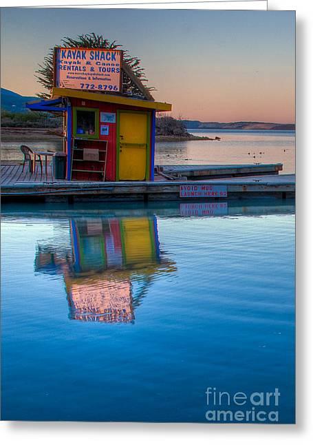Terry Garvin Greeting Cards - The Kayak Shack Morro Bay Greeting Card by Terry Garvin
