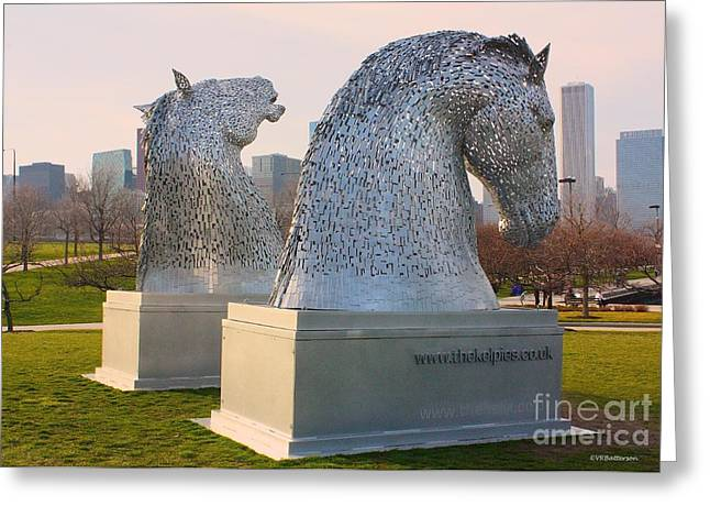 Kelpie Photographs Greeting Cards - The Kelpies in Chicago Greeting Card by Veronica Batterson