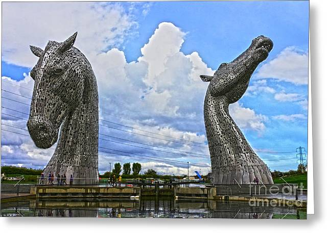 Kelpie Photographs Greeting Cards - The Kelpies in Falkirk Greeting Card by JM Braat Photography